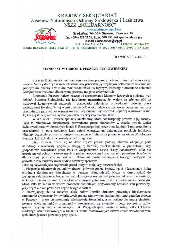 manifest w obronie Puszczy Białowieskiej _2