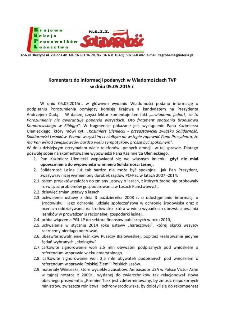 Komentarz do wiadomości TVP 05.05.15_1